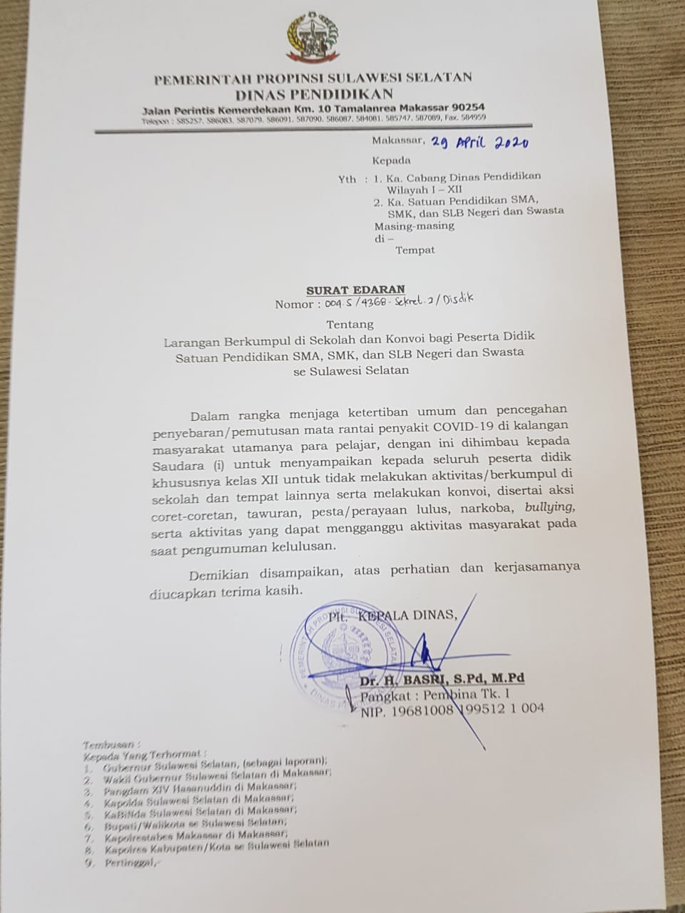 Surat Edaran Disdik Provinsi Sulsel tentang Larangan Berkumpul di Sekolah Konvoi bagi Siswa