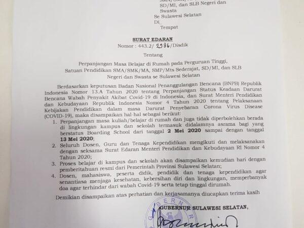 Surat Edaran Gubernur Sulawesi Selatan tentang Perpanjangan Masa Belajar di Rumah
